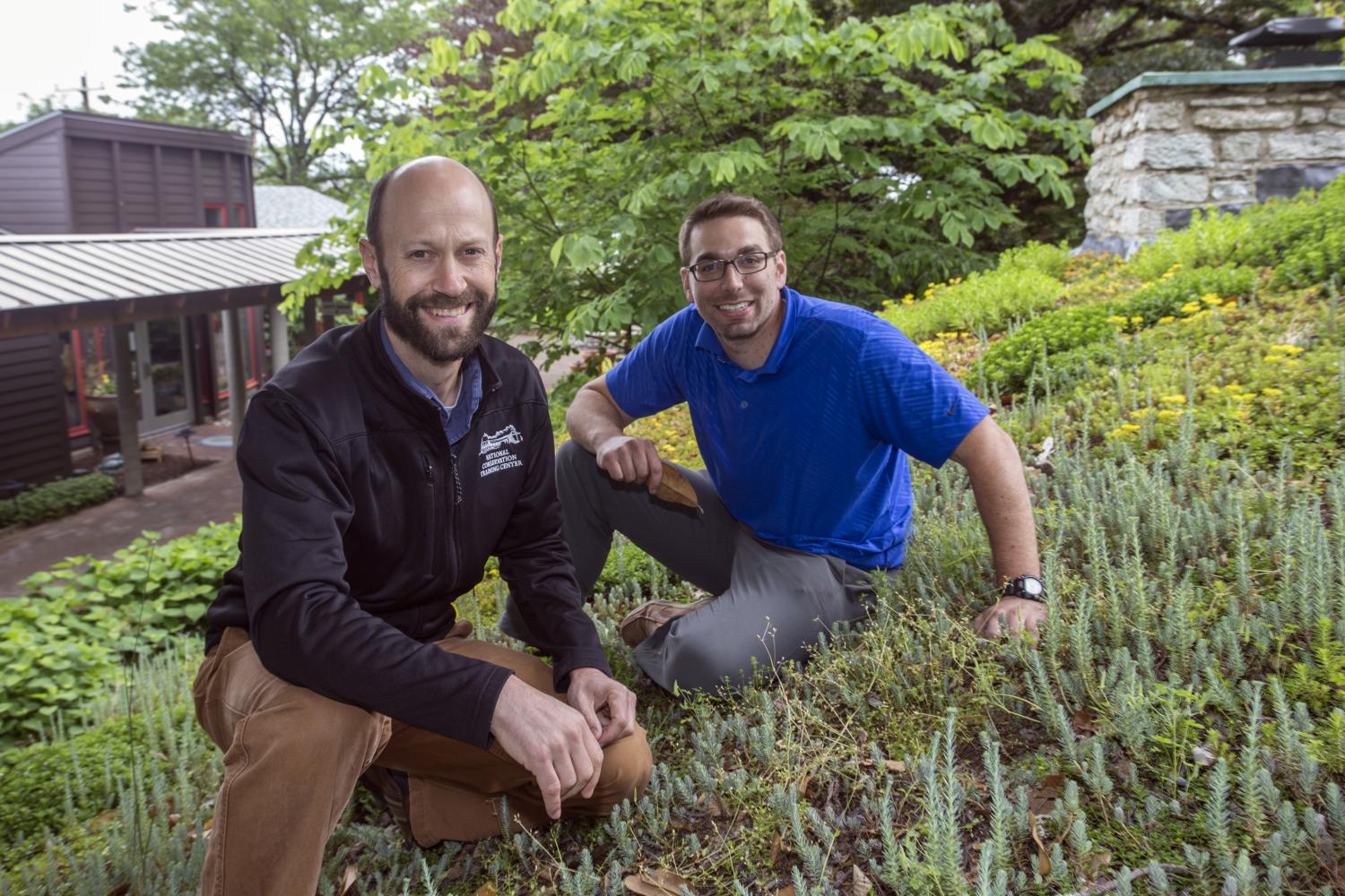 Ishi Buffam And Mark Mitchell Are At One Of The Green Roofs At The Civic Garden  Center Of Greater Cincinnati. Credit: Andrew Higley/University Of Cincinnati