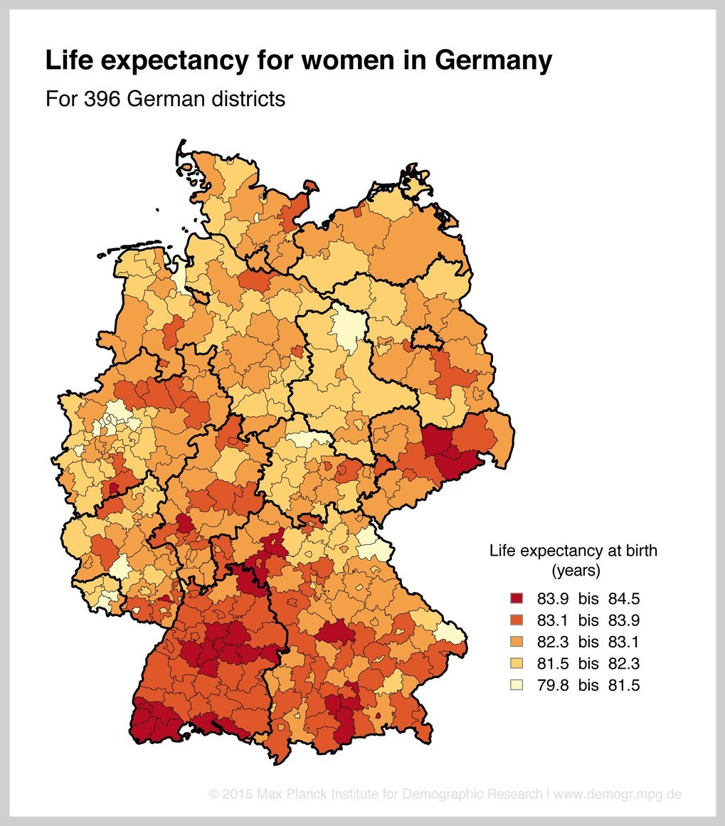 Germany—East-west divide in life expectancy almost overcome