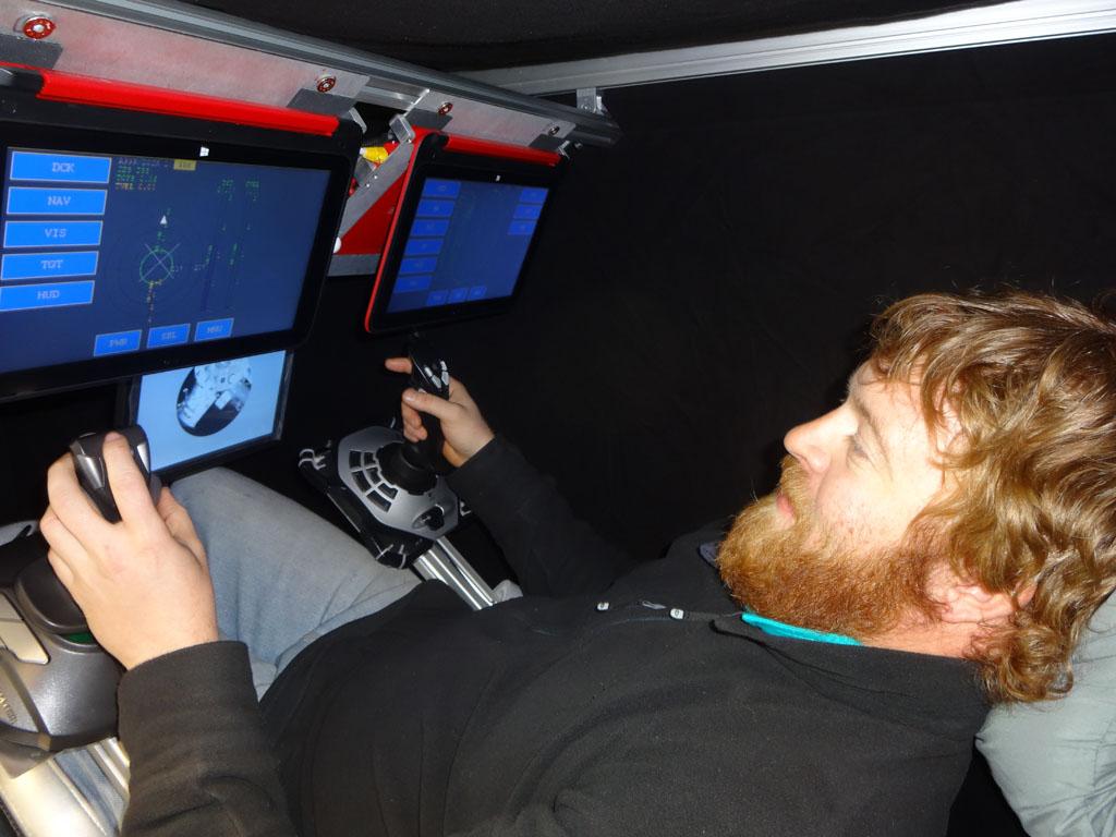 winter generator mechanic steve croft enjoys his second flight training session in the space flight simulator credit alexander finch