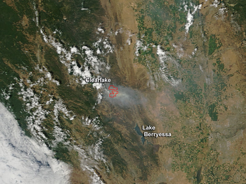 Lake Berryessa Fire Map.Image Rocky Fire California July 30 2015