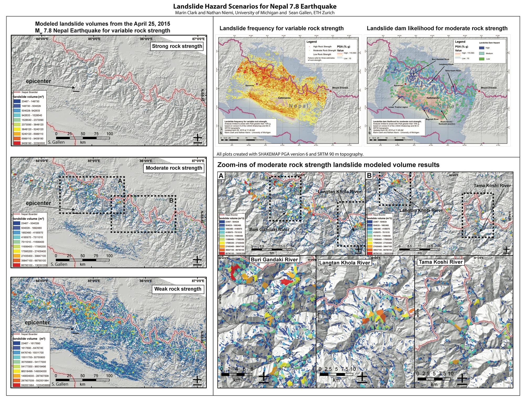 Map Of Landslide And Landslide Dam Hazard Potential Credit Marin Clark Nathan Niemi And Sean Gallen