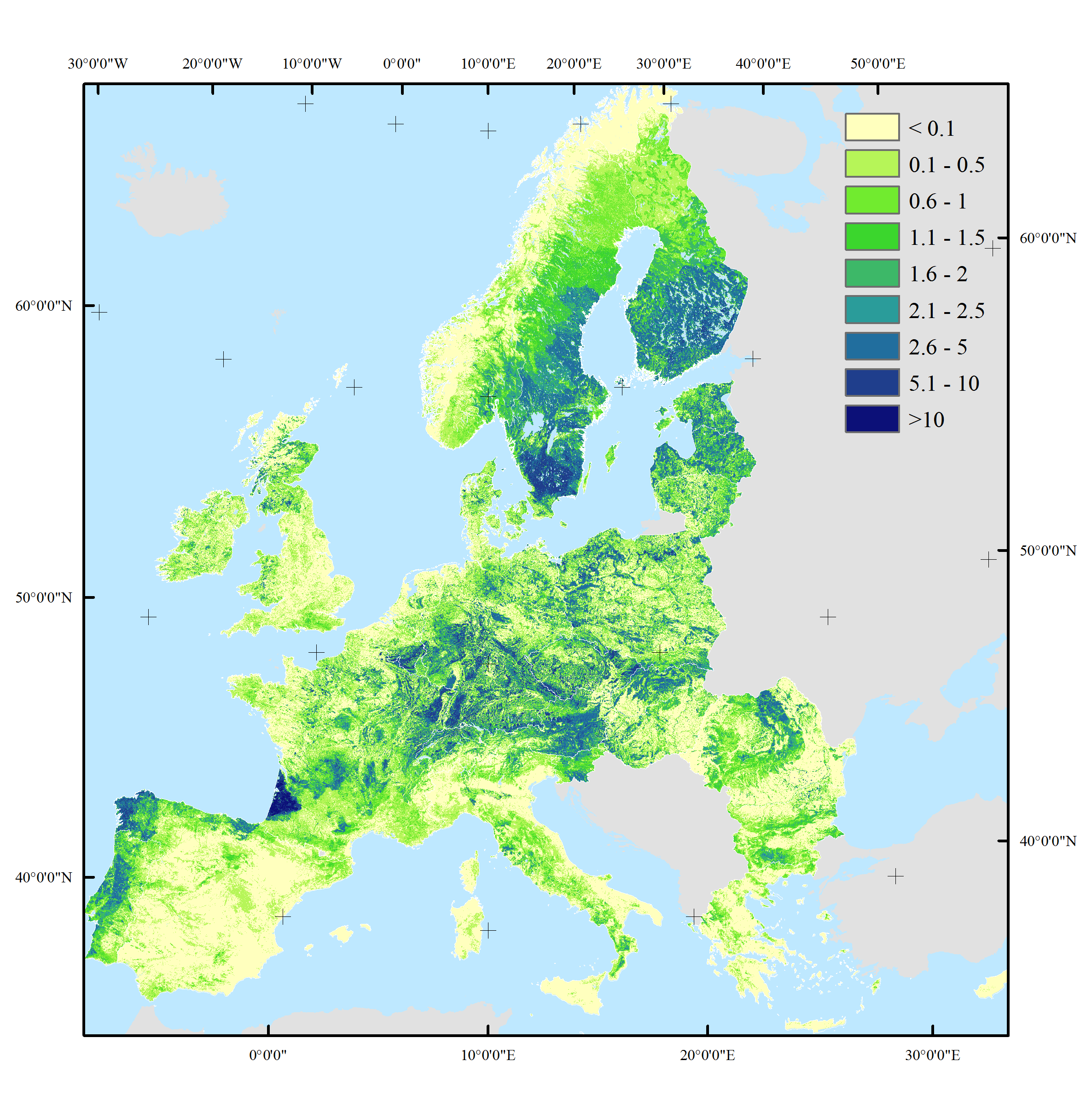 Wood Production In European Forests - Us forest biomass map