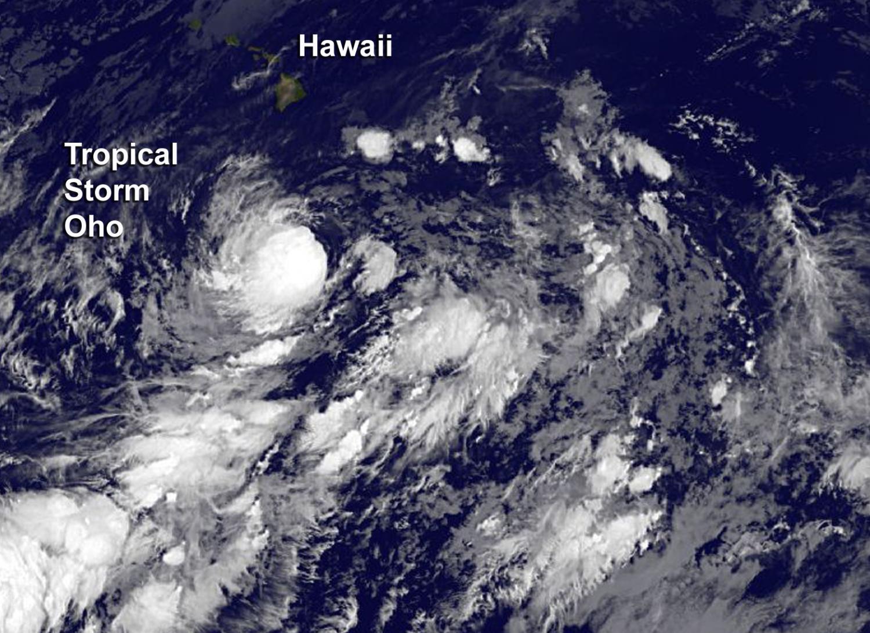 NASA tracking Tropical Storm Oho, south of Hawaii