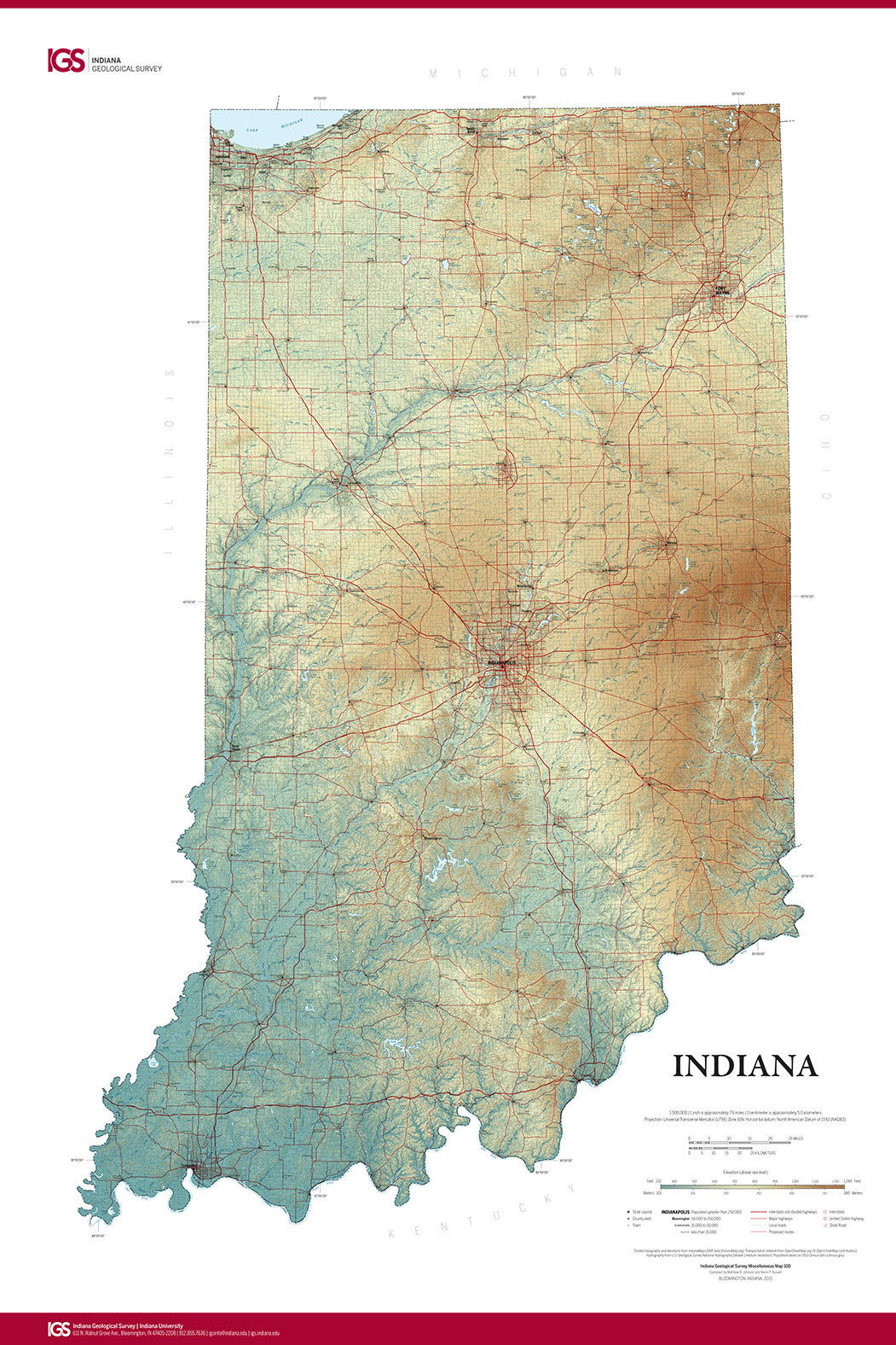 State Map From Indiana Geological Survey Makes Use Of Highres Imaging - Map of state of indiana
