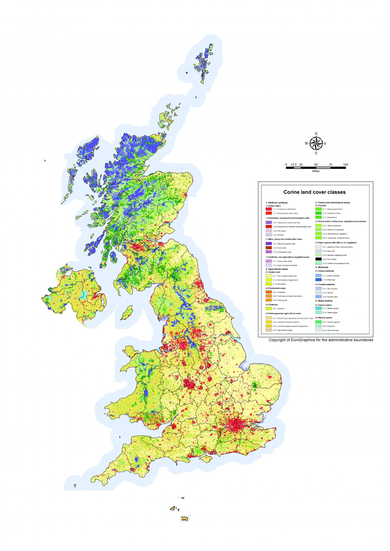 Of our countryside land use map of united kingdom reveals large corine land cover map 2012 for the uk credit university of leicester gumiabroncs Images