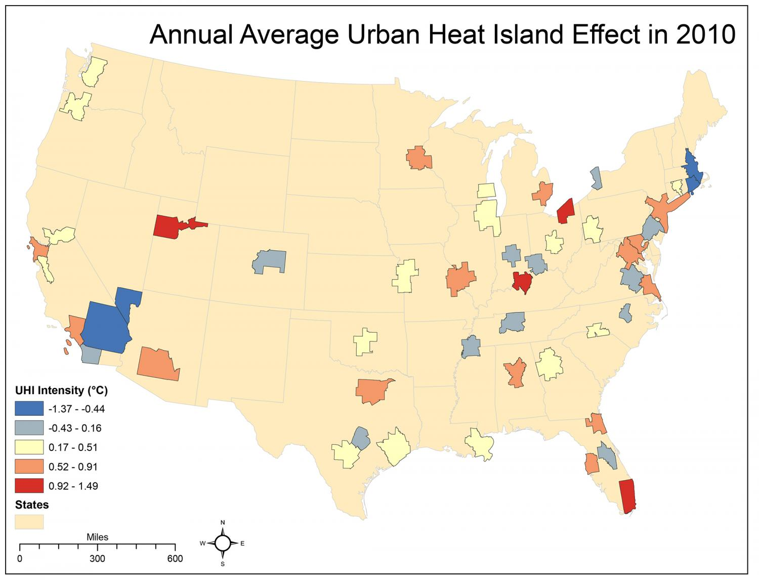 Study ranks US cities based on the urban heat island effect on ...