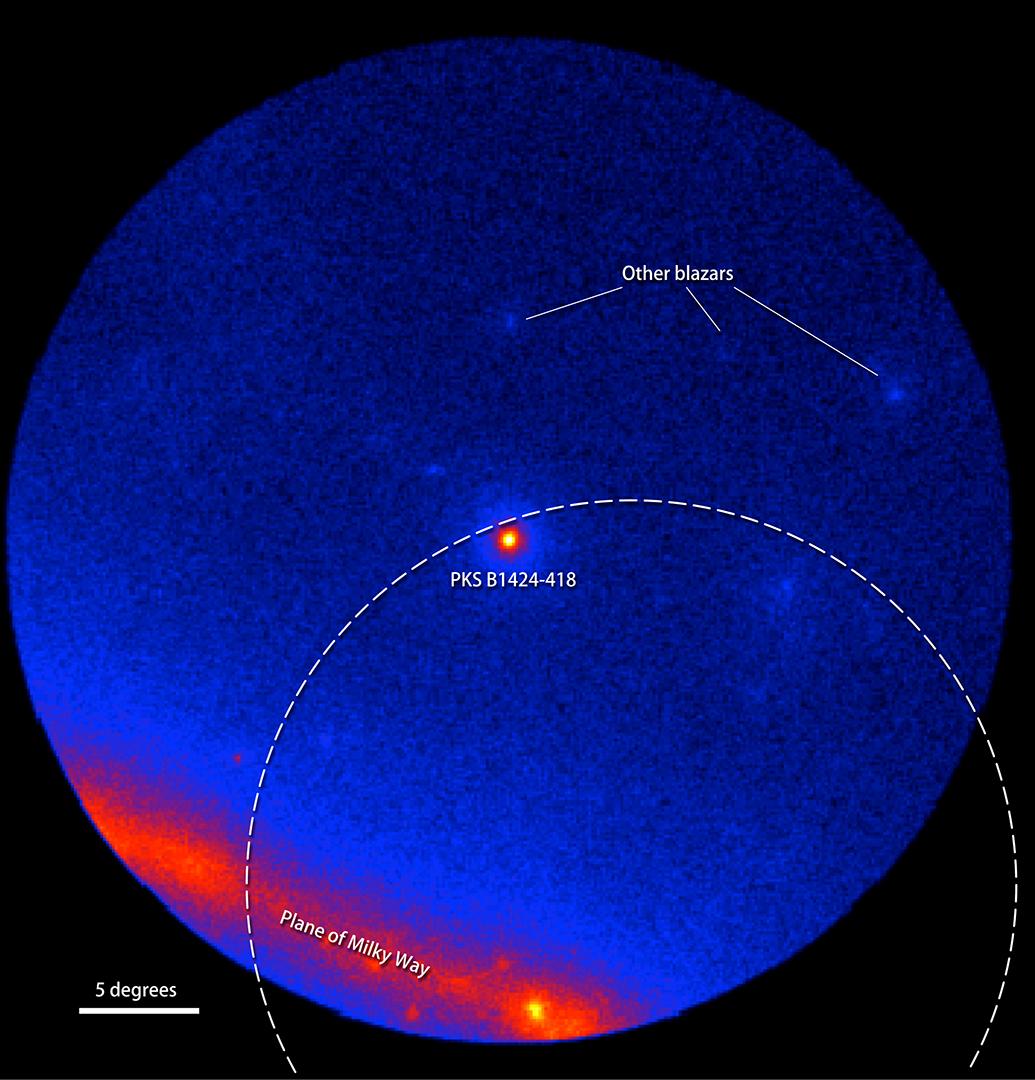 fermi telescope helps link cosmic neutrino to blazar blast