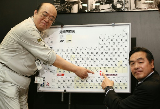 Nihonium moscovium among new periodic element names japanese scientist kosuke morita left and science minister hiroshi hase point to the periodic table displaying the new element 113 during at a press urtaz