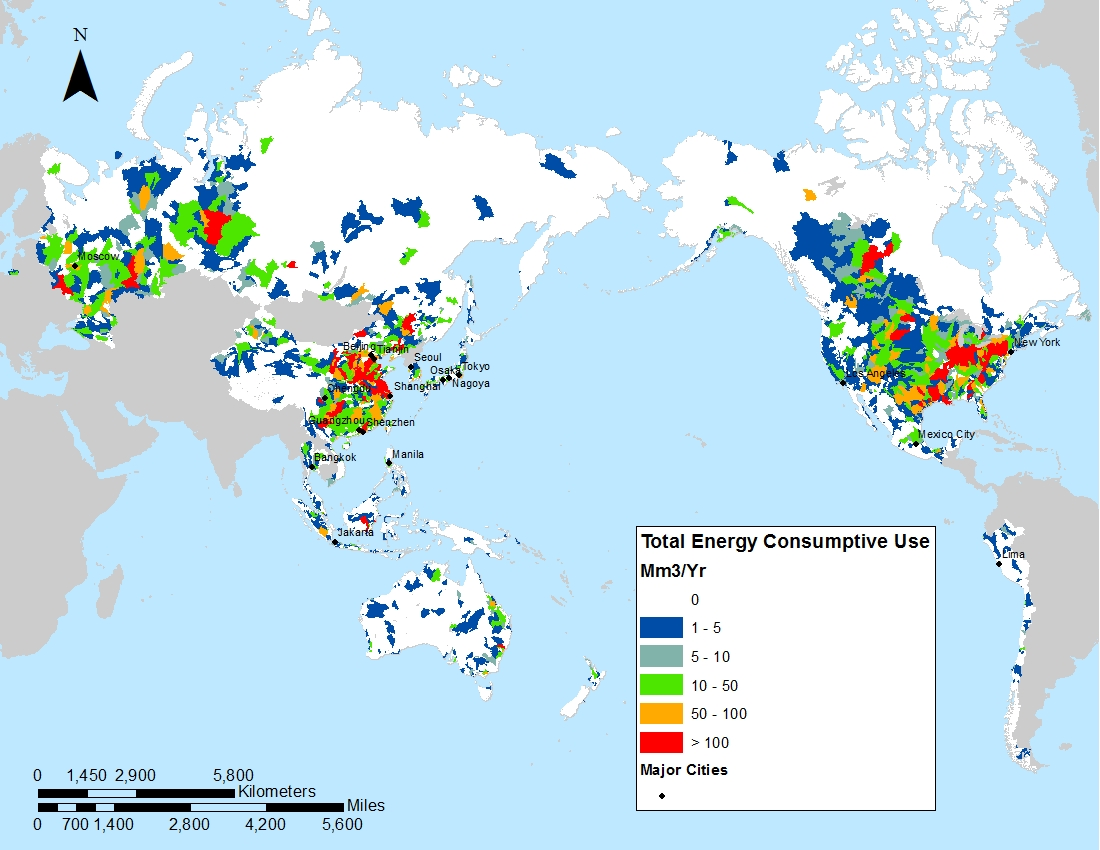 water energy dependence around pacific rim mapped