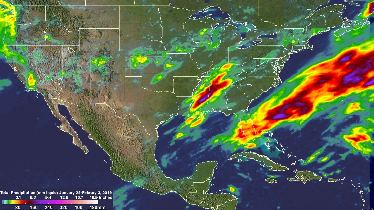 NASA Measures Ten Days Of US Extreme Precipitation From Space - Precipitation map of us