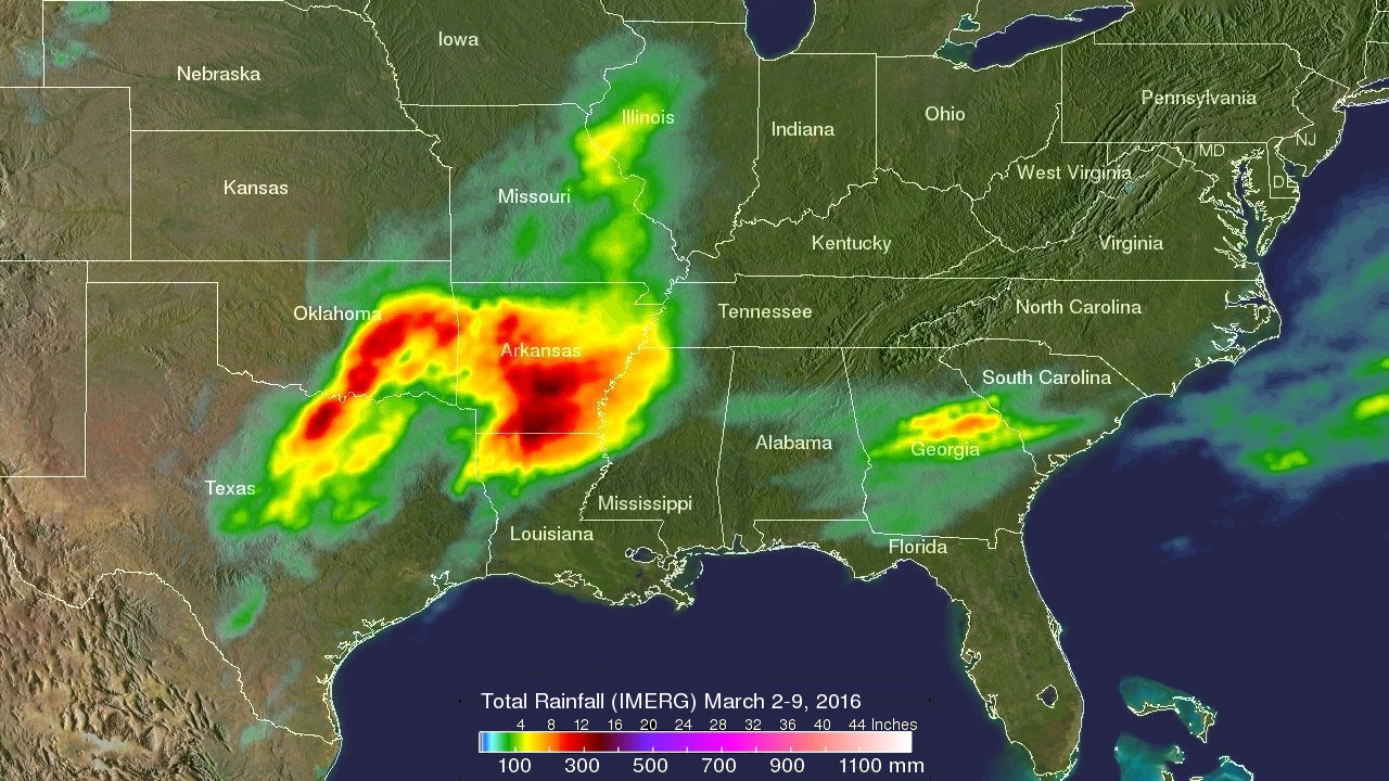 GPM Satellite Measured Heavy Rainfall In The Southern US Storms - Map of 2016 us rainfall amounts