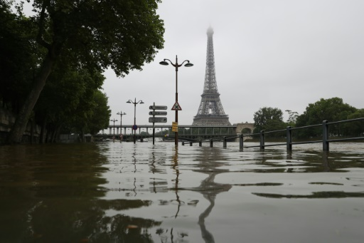 A Picture Taken On June   Shows The River Seine Bursting Its Banks Next To The Eiffel Tower In Paris