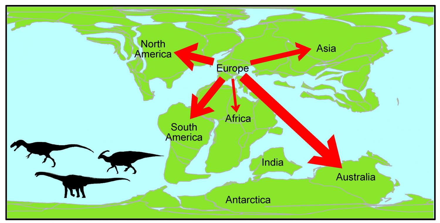 Shows dinosaur families chose to exit europe a map shows the migration of dinosaurs from europe during the early cretaceous period 125 100 million years ago credit alex dunhill university of leeds sciox Image collections