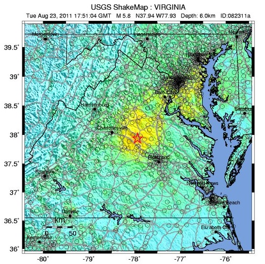 Find Likely Cause For Recent Southeast US Earthquakes - Us earthquake map