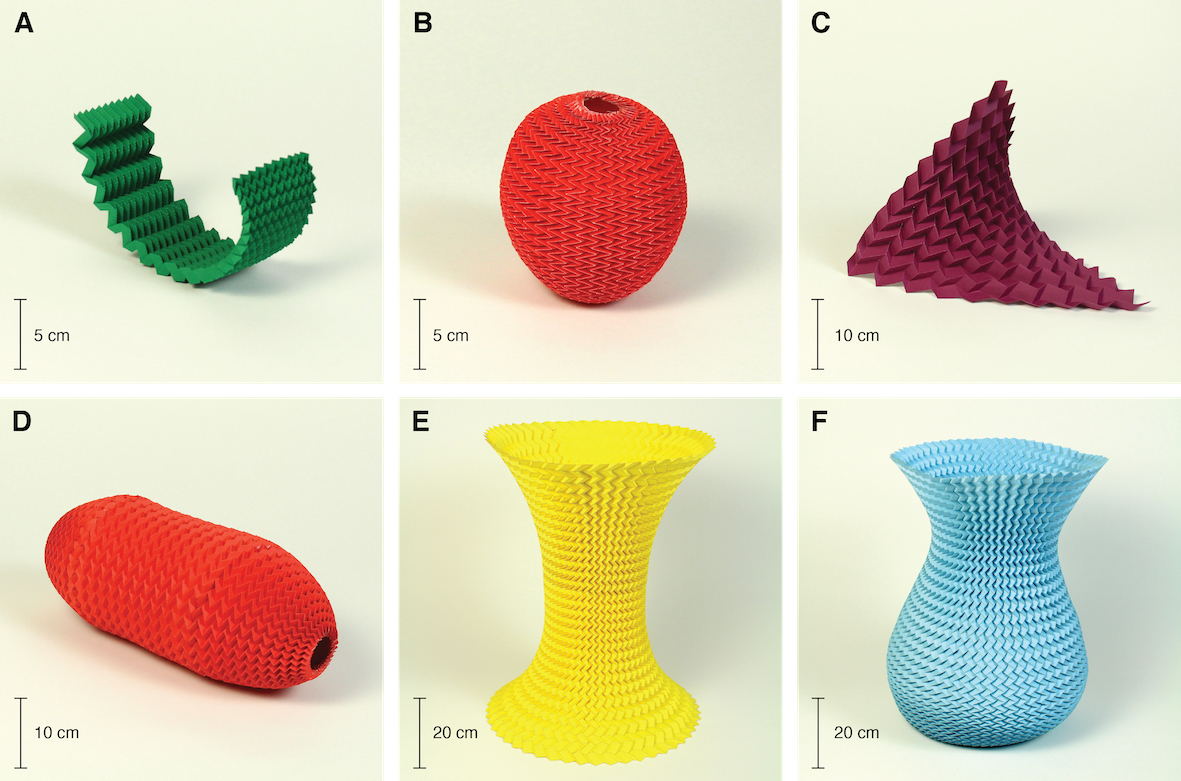 Simple origami fold may hold the key to designing pop up furniture various shapes made from miura ori pattern credit mahadevan lab jeuxipadfo Gallery