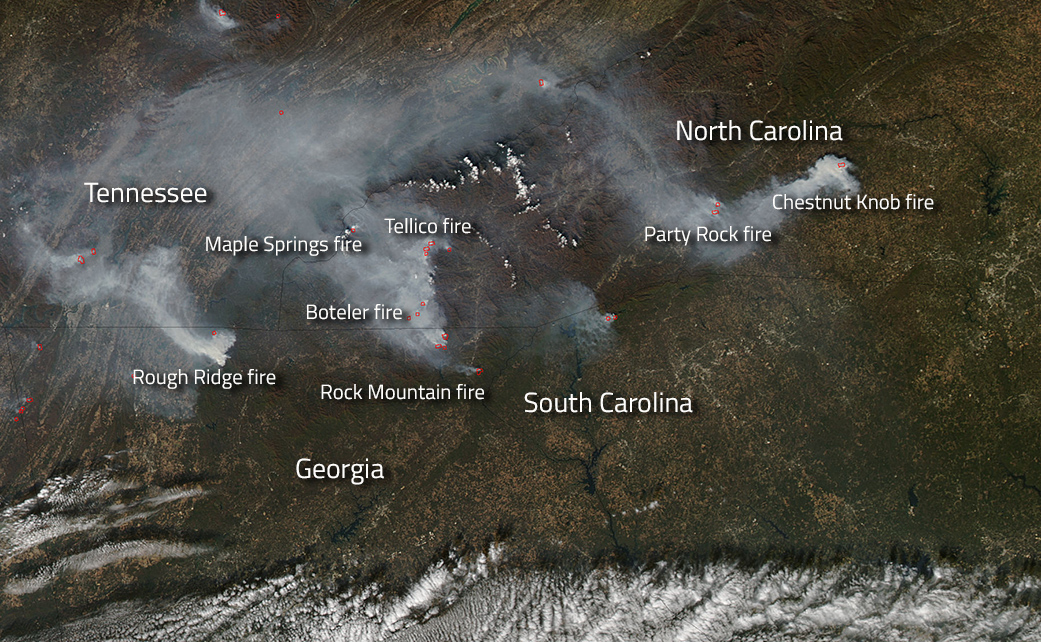 North Carolina Wildfire Map.Fires Blazing Across The Southern United States