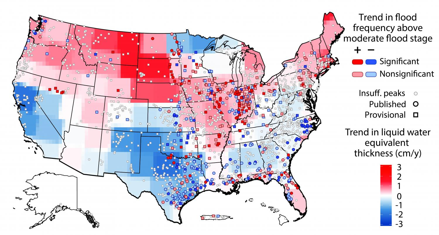 Study Map Of Usa.Flood Threats Changing Across Us Study Finds Flood Risk Growing In