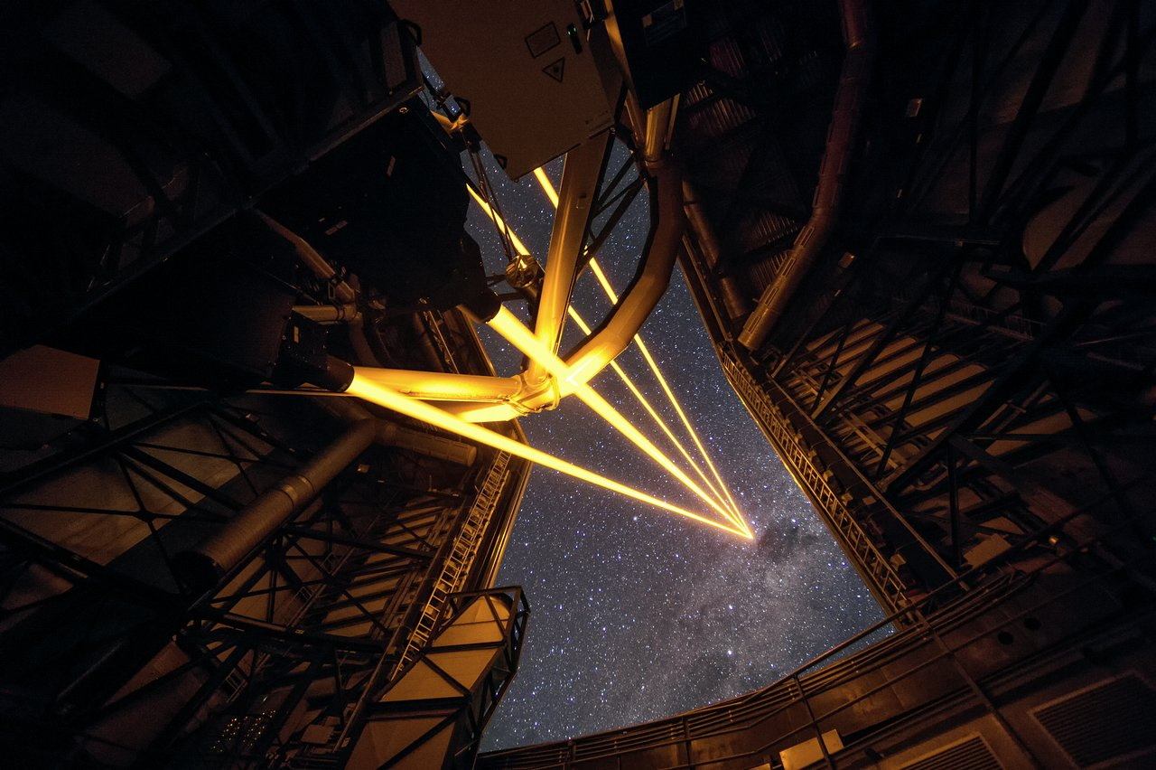 First Light For The Four Laser Guide Star Facility On Eso