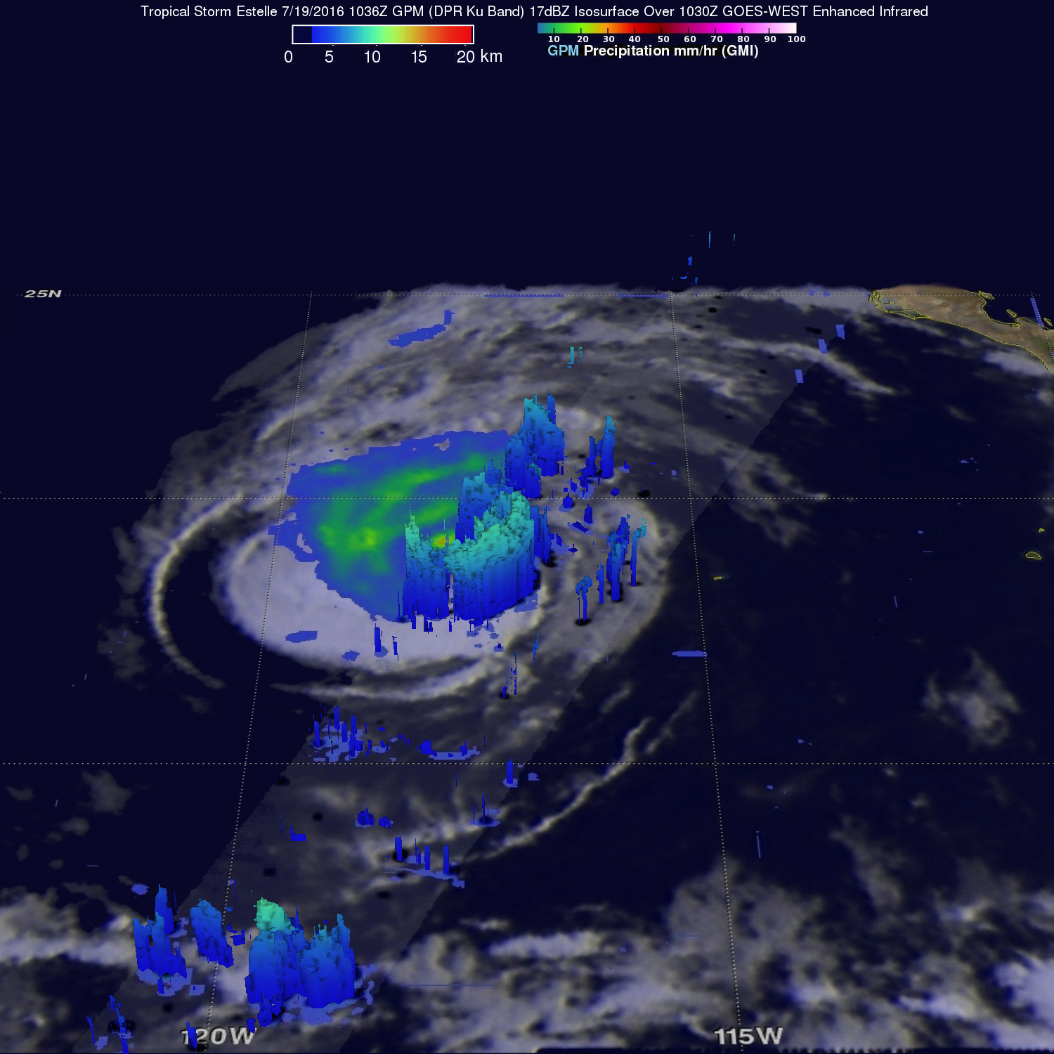 GPM measured heavy rain in Tropical Storm Estelle