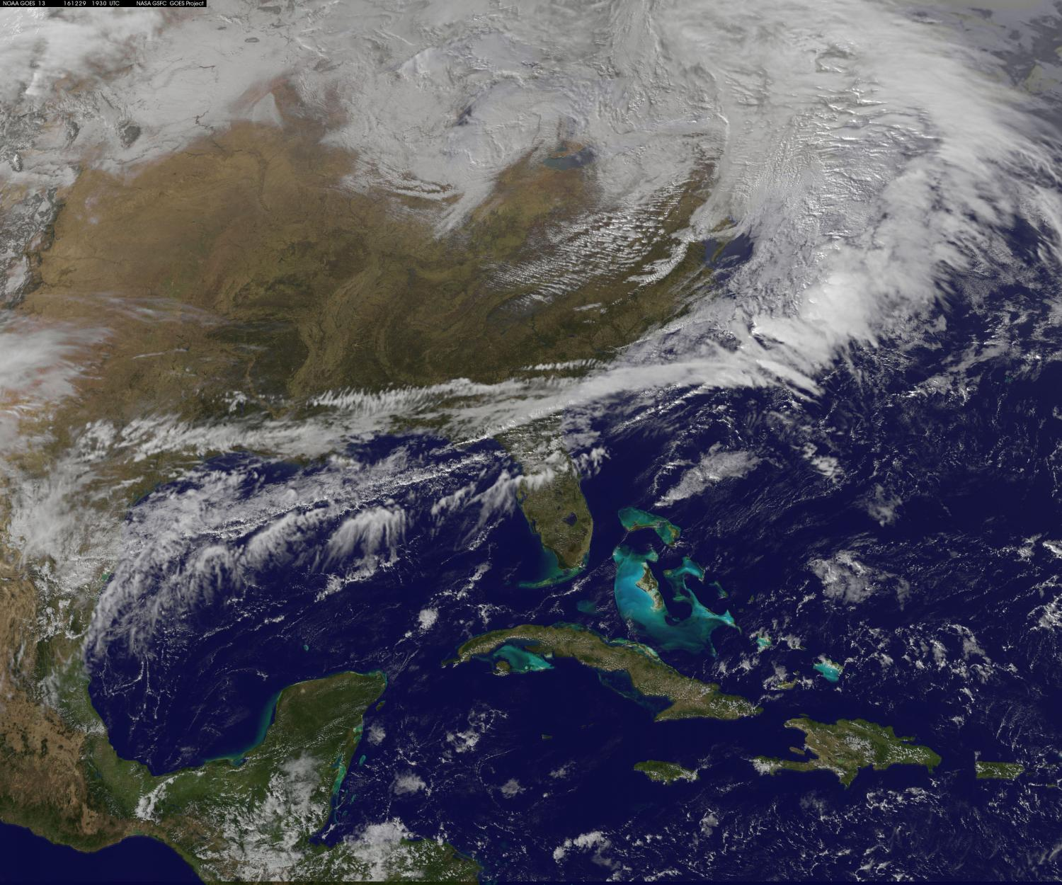 Satellite View Of Big Snowstorm For The Northeastern US - Earth satellite view 2016