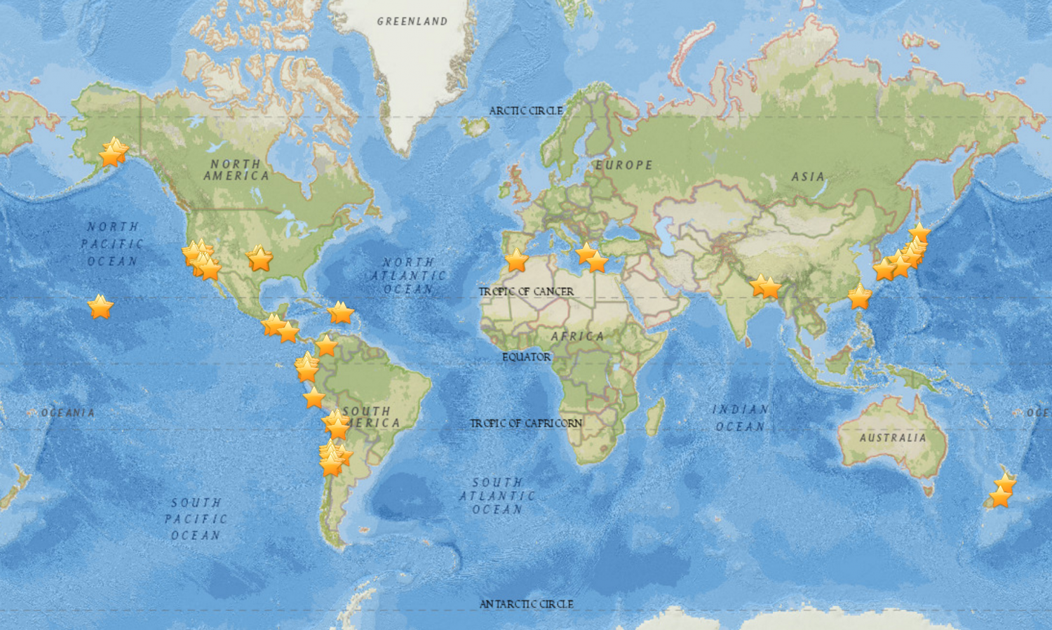 Japanese language myshake app crowdsources earthquake shaking a map of the 121 earthquakes that myshake users have recorded since the apps release in february 2016 they range in magnitude form 25 to 78 gumiabroncs Image collections