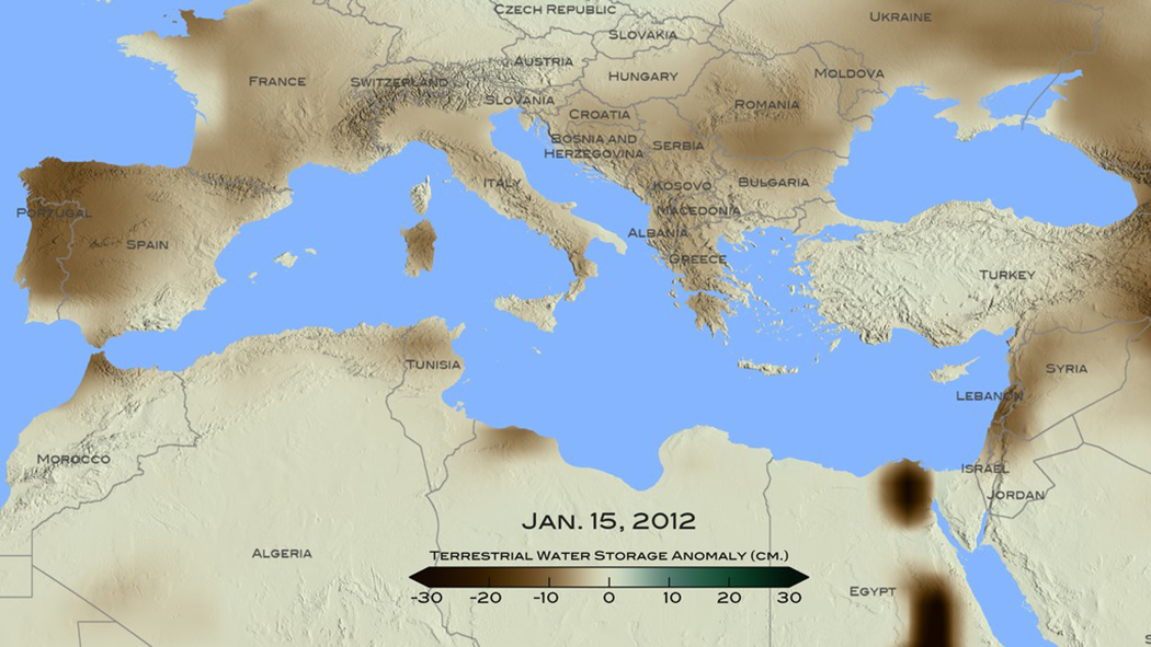 nasa finds drought in eastern mediterranean worst of past