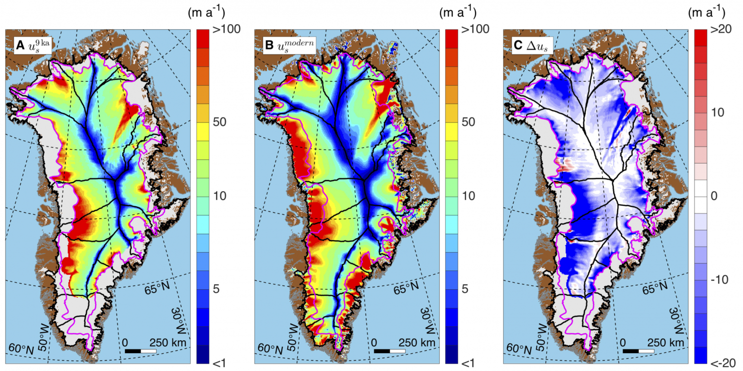 Map Movement Of Greenland Ice During Past Years - Greenland map
