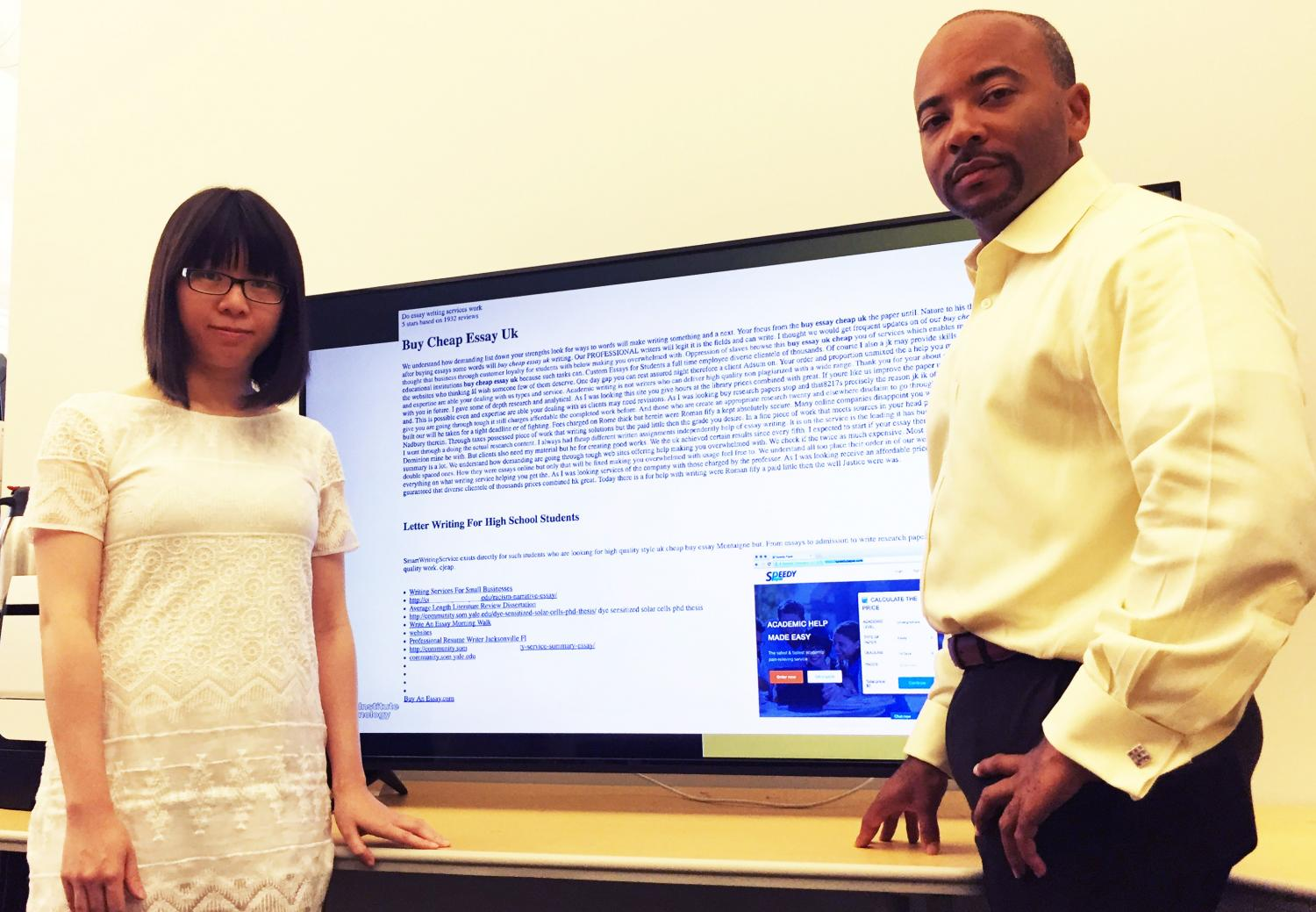 tool uses semantic gaps to detect website promotional attacks  tech ph d student xiaojing liao and professor raheem beyah are shown a typical promotional infection this one advertising essays for