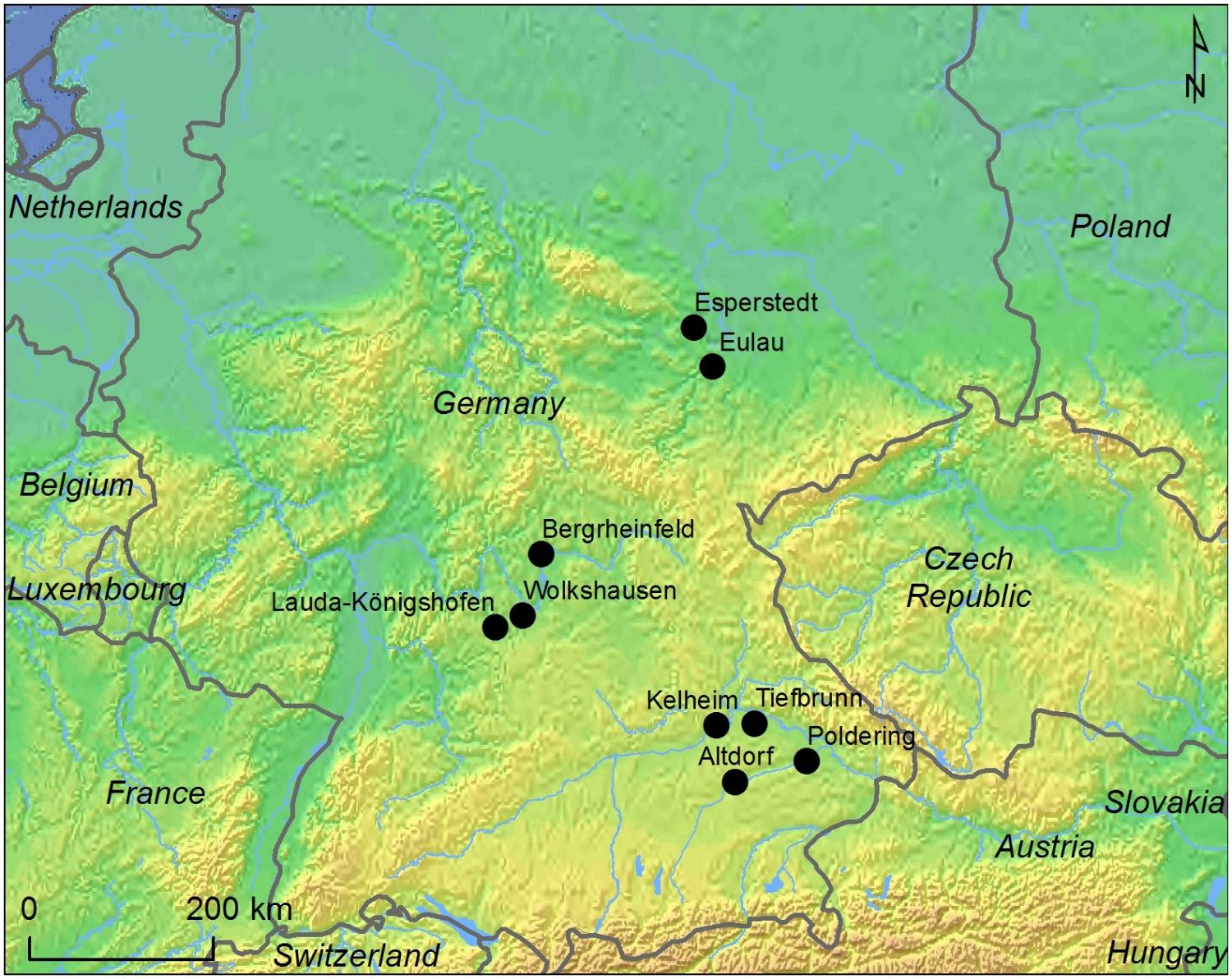 location of sampled sites and other cw sites mentioned in the text credit map by k g sjgren using public domain data