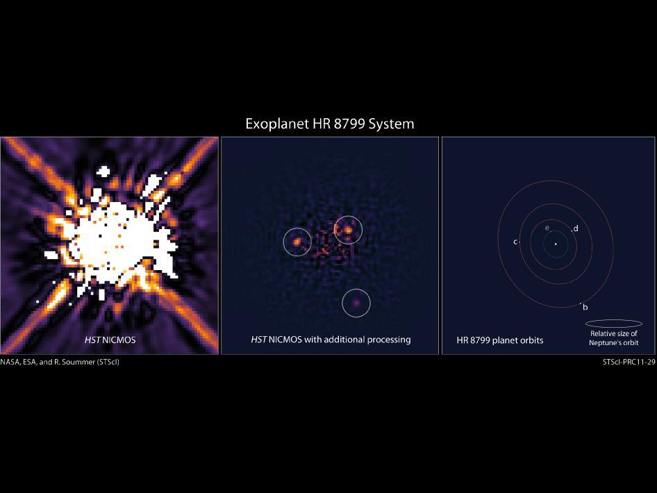 Resim 2: Hubble tarafından çekilen fotoğrafta HR8799 yıldızı ve işlem gördükten sonra görünen gezegenleri.