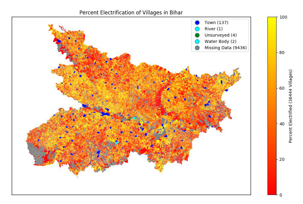 Mapping electricity access for a sixth of the worlds people the proportion of households connected to the grid in more than 36000 villages in bihar india credit duke university gumiabroncs Gallery