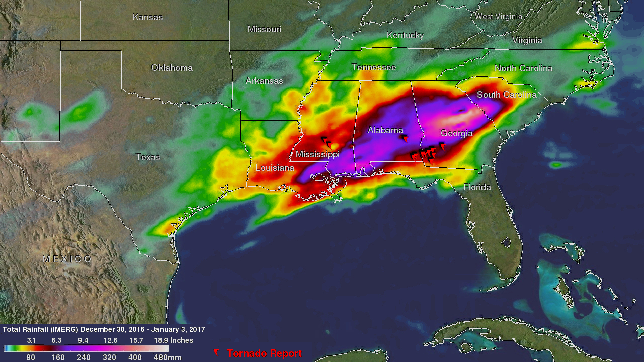 NASA adds up heavy rainfall from southeastern US severe weather