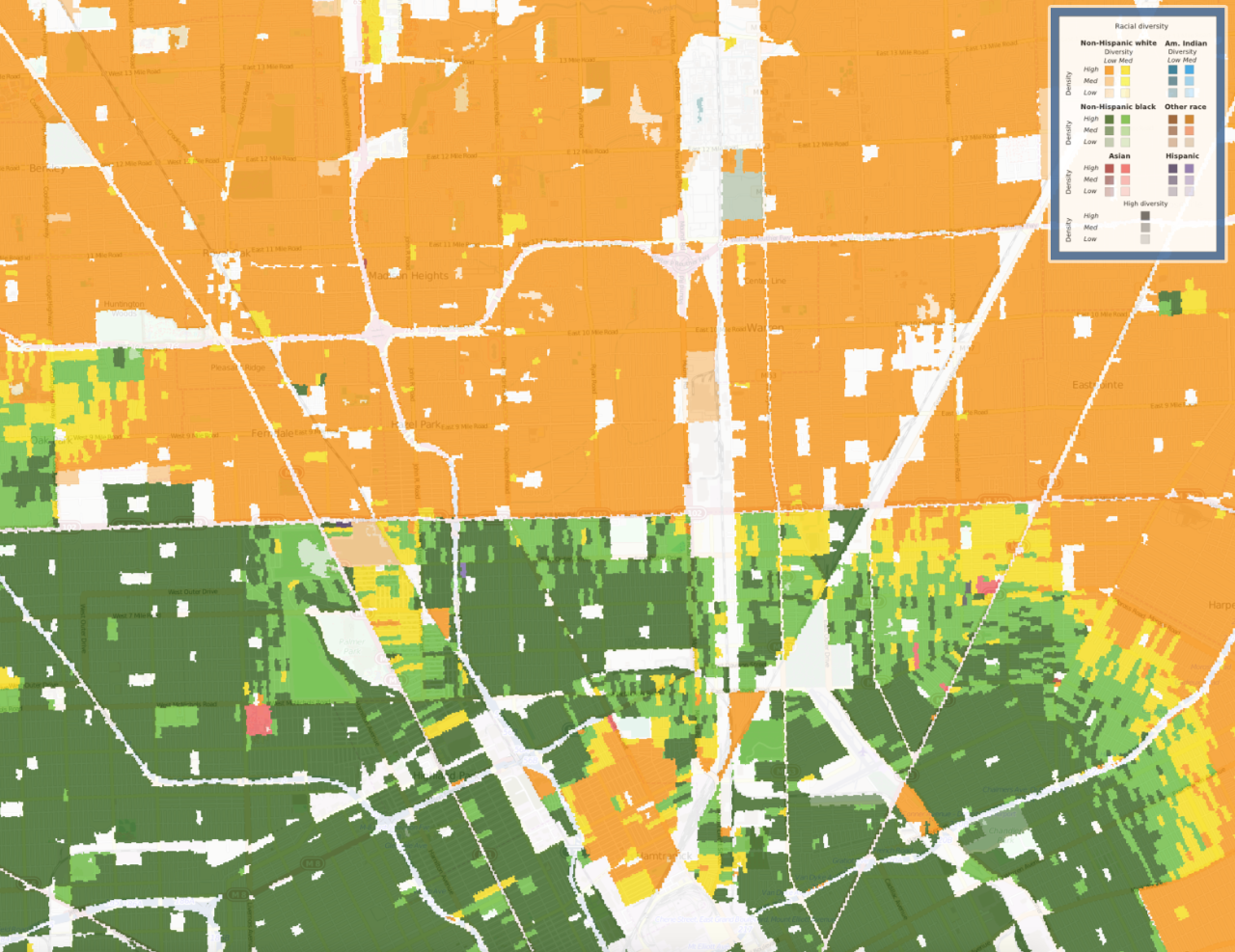 New map shows racial diversity of every neighborhood in continental US