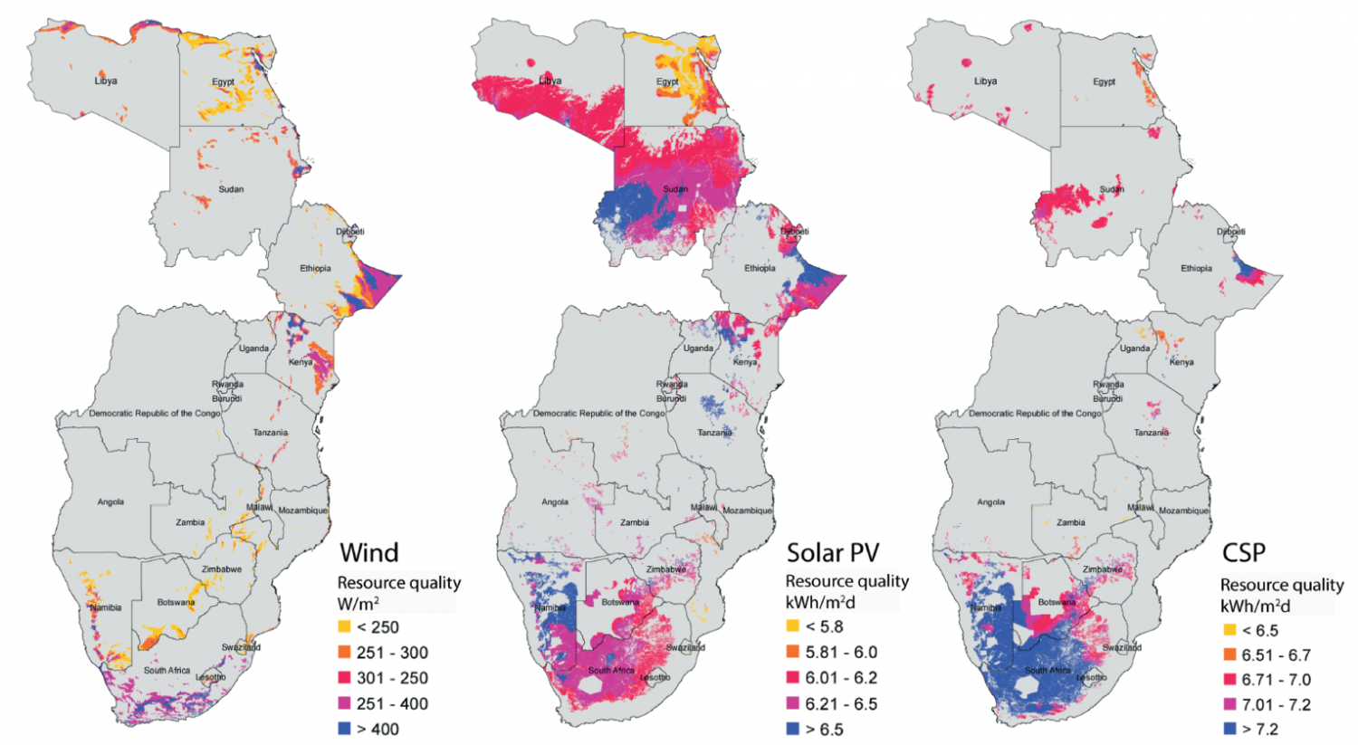 the location and energy potential in terawatt hours of eastern and southern african renewable resources wind solar photovoltaic and concentrating solar