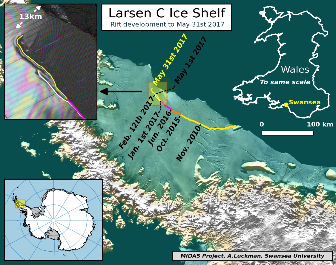 Antarctic ice rift close to calving after growing 17km in 6 days