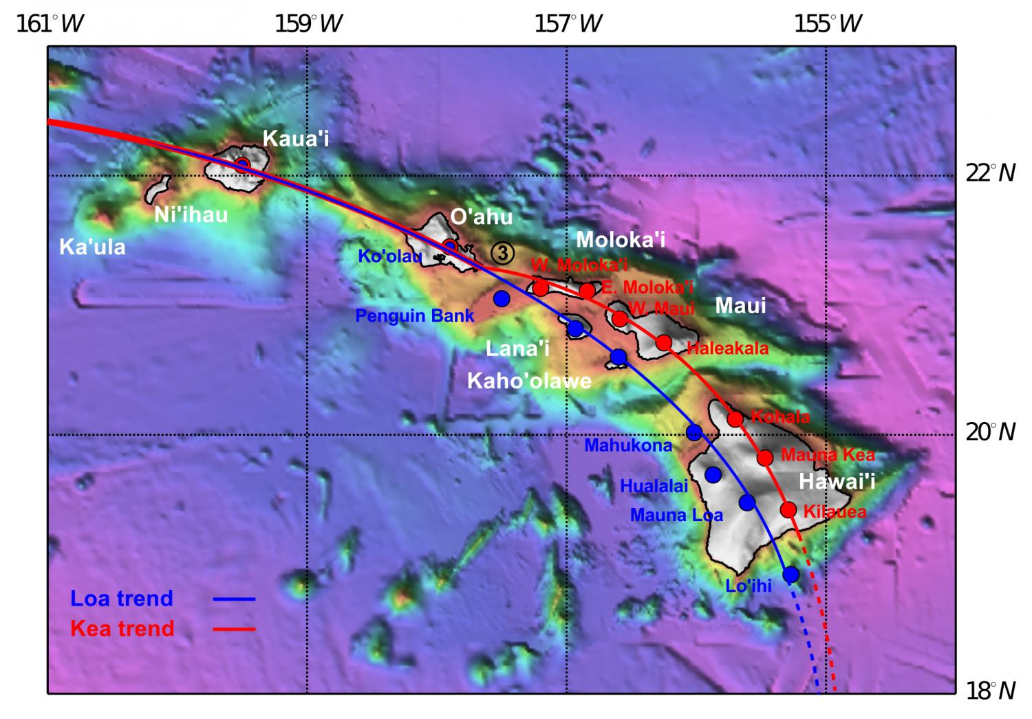 Scientists discover how worlds biggest volcanoes formed a map of recent hawaiian volcanism highlighting the loa and kea tracks credit tim jones anu gumiabroncs Gallery