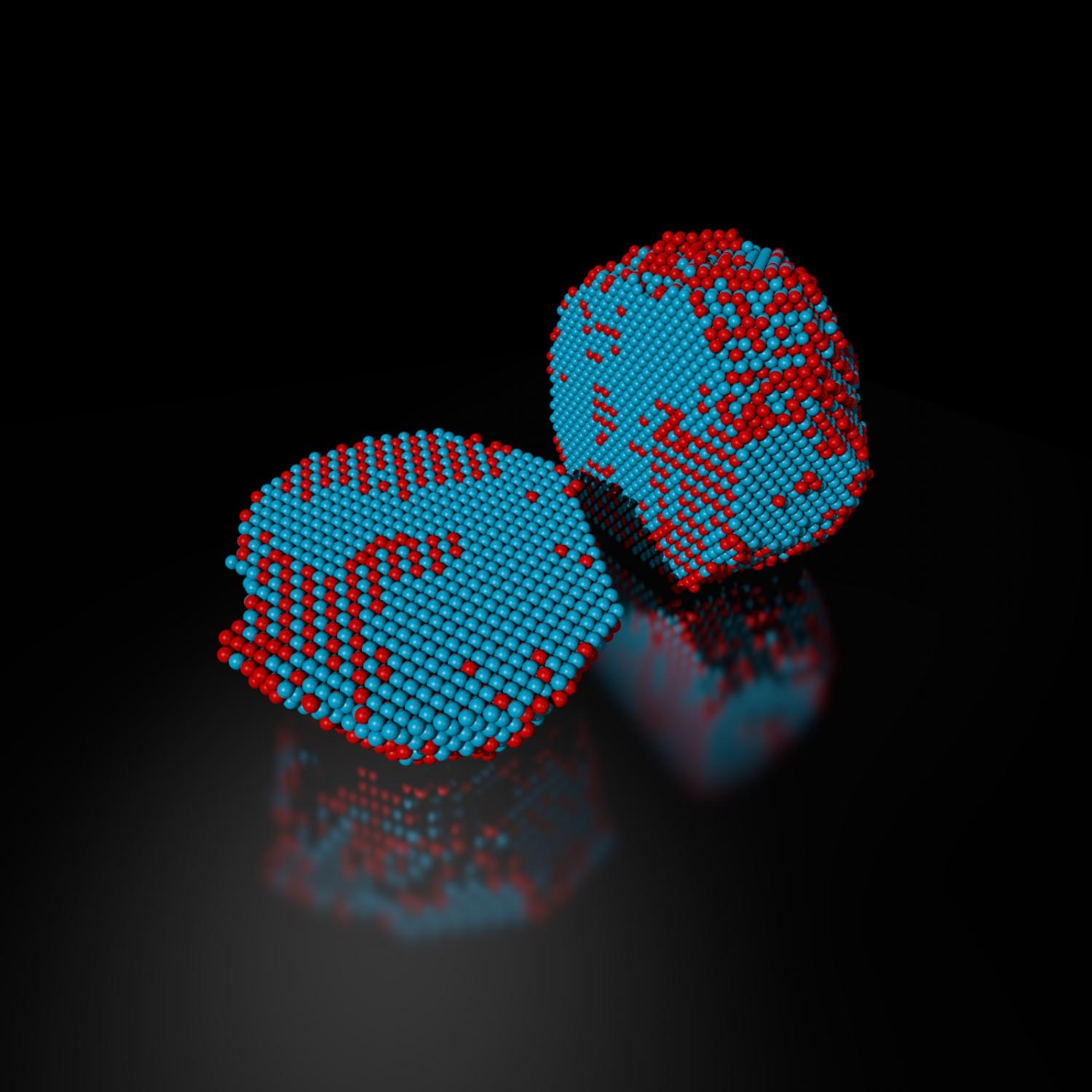 Scientists determine precise 3 d location identity of all 23000 the precise 3 d atomic composition of an iron platinum nanoparticle is revealed in this reconstruction with iron atoms in red and platinum atoms in blue ccuart Gallery