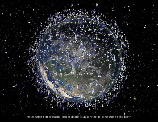 An artist's impression of the more than 100 million pieces of debris in orbit around the Earth