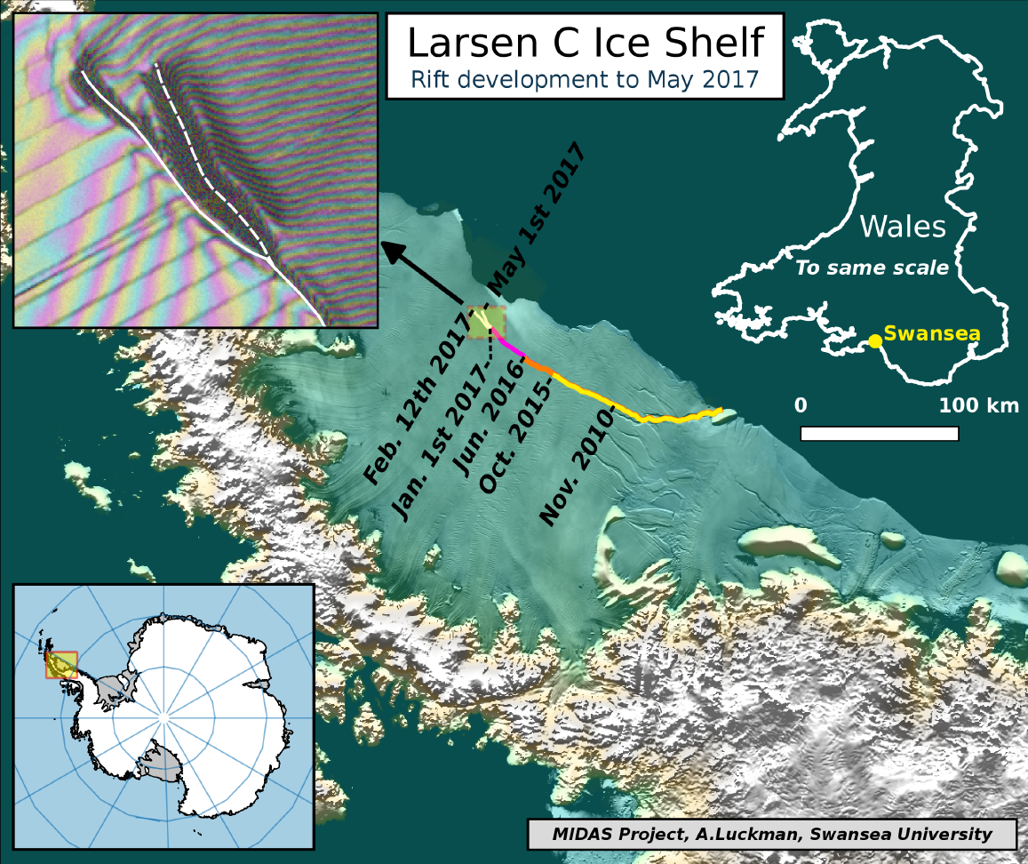 Antarctic ice shelf rift gets second branch