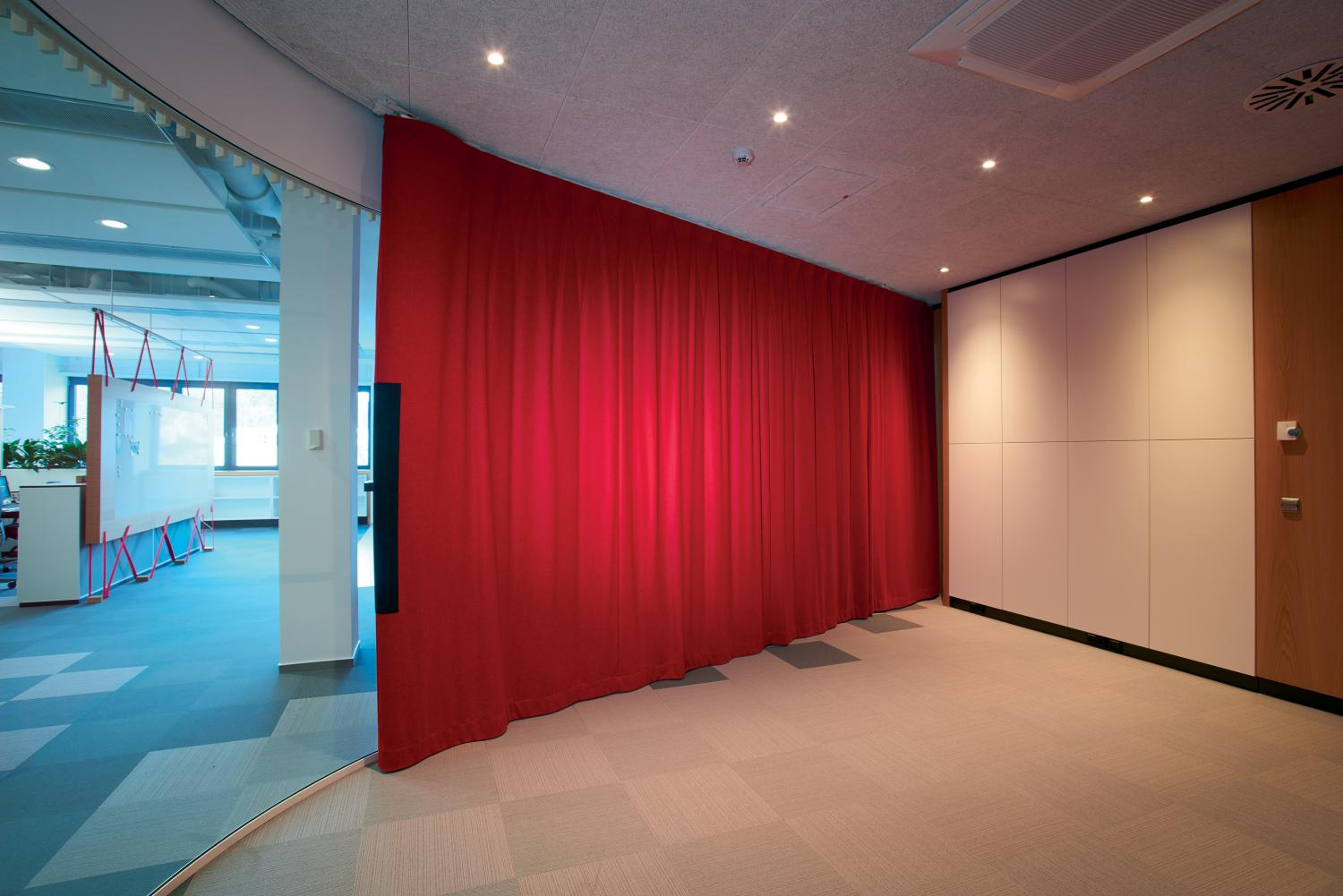Multiple Sound Curtains Have Been Used At The Headquarter Of The German  Company Häfele. Credit: Gerriets GmbH
