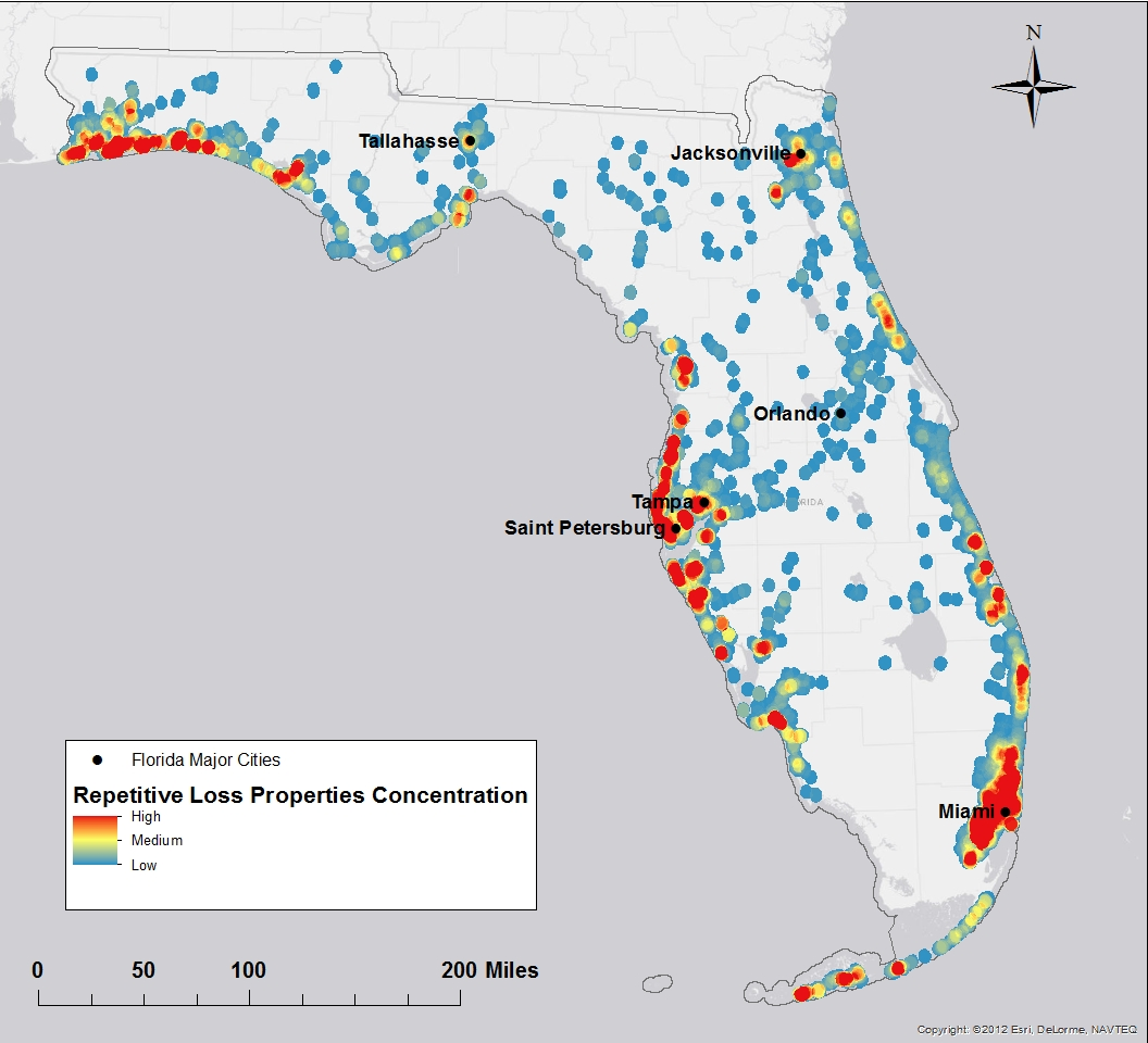 Map Of Florida With Major Cities.Florida Flood Risk Study Identifies Priorities For Property Buyouts