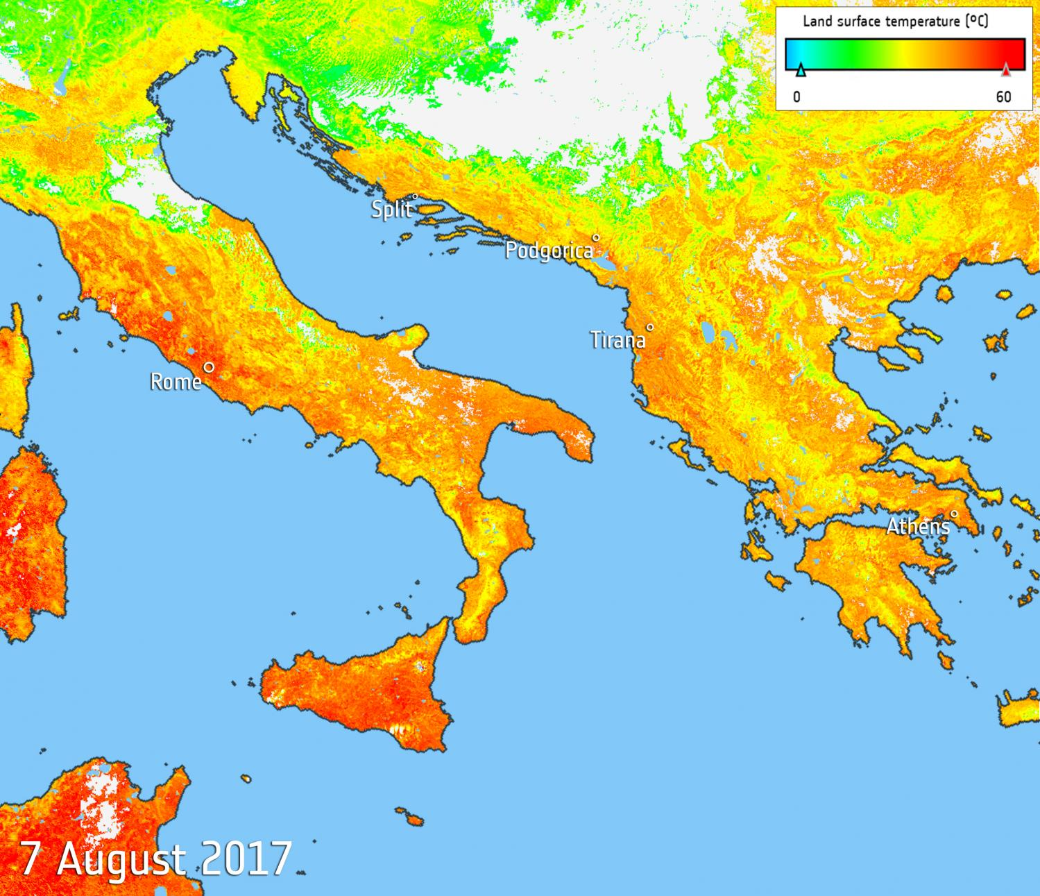 Image Heat Map Of Sweltering Southern Europe