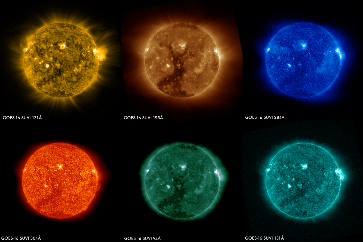 images of the sun from the goes 16 satellite