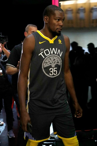 Kevin Durant of the Golden State Warriors debuts the new jersey during the  unveiling of the New NBA Partnership with Nike 4ff0502e720