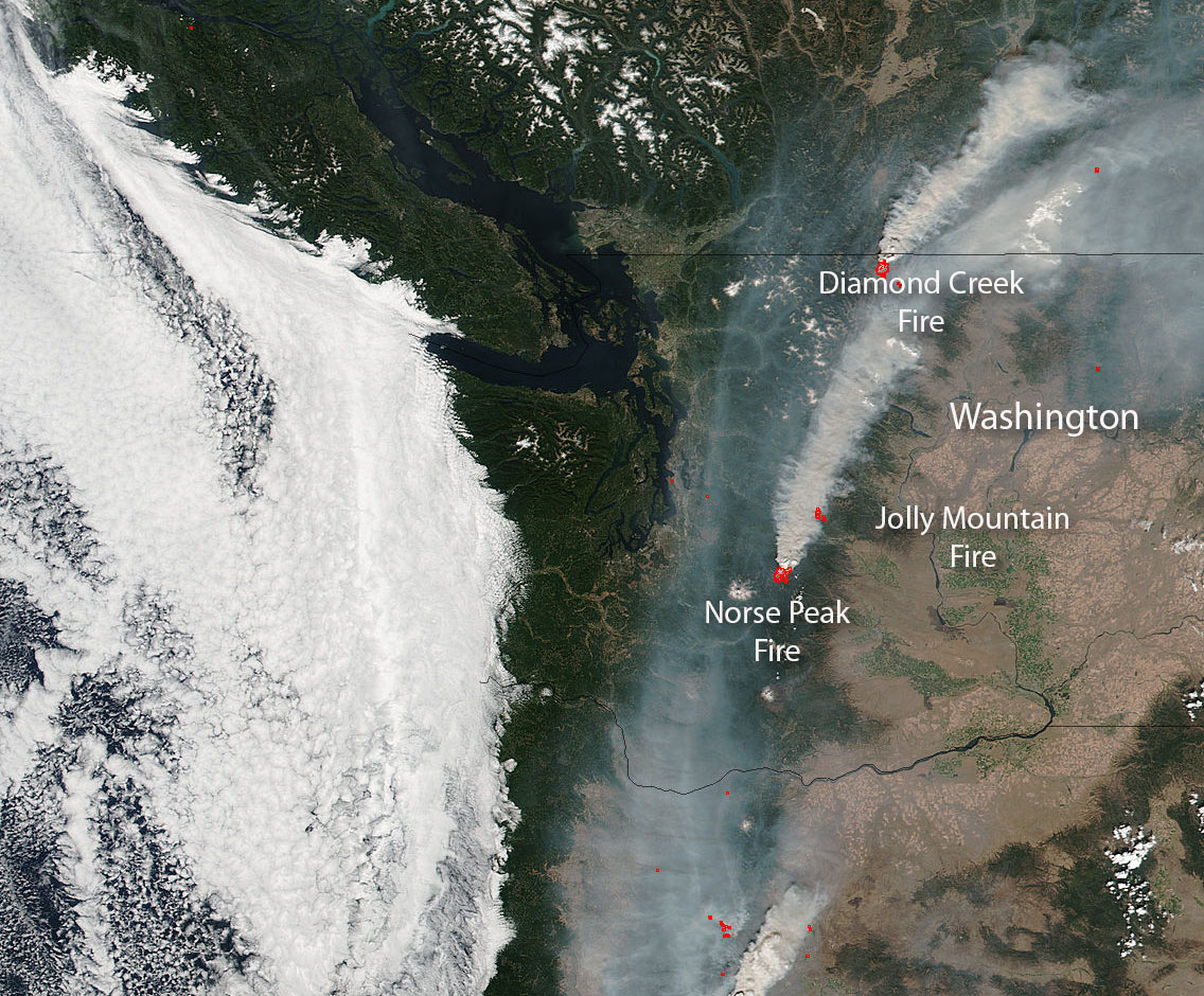 Nasa Sees Washington State Under Fire
