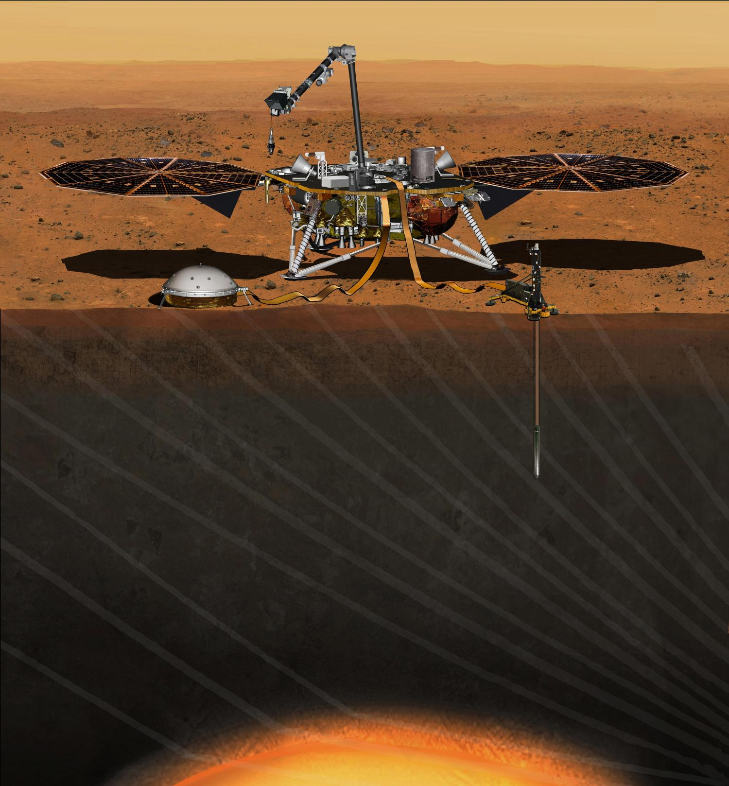 This artist s concept from August 2015 depicts NASA s InSight Mars lander  fully deployed for studying the deep interior of Mars. Credit  NASA JPL -Caltech a8d12f3566