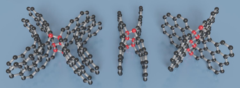 No carbono vítreo comprimido produzido pela equipe de Zhao, camadas de grafeno (em preto) podem ser interligadas de diversas formas por nódulos diamantinos (em vermelho). [concepção artística de Timothy Strobel]