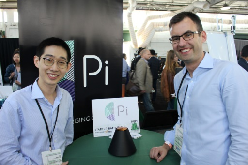 Pi co-founders Lixin Shi left and John Mac Donald tout their invention as the world's first wireless charger that does away wit
