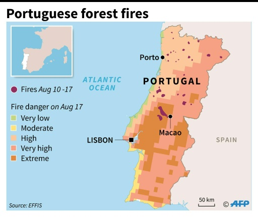 Wildfires Trap Villagers In Portugal - Portugal on map