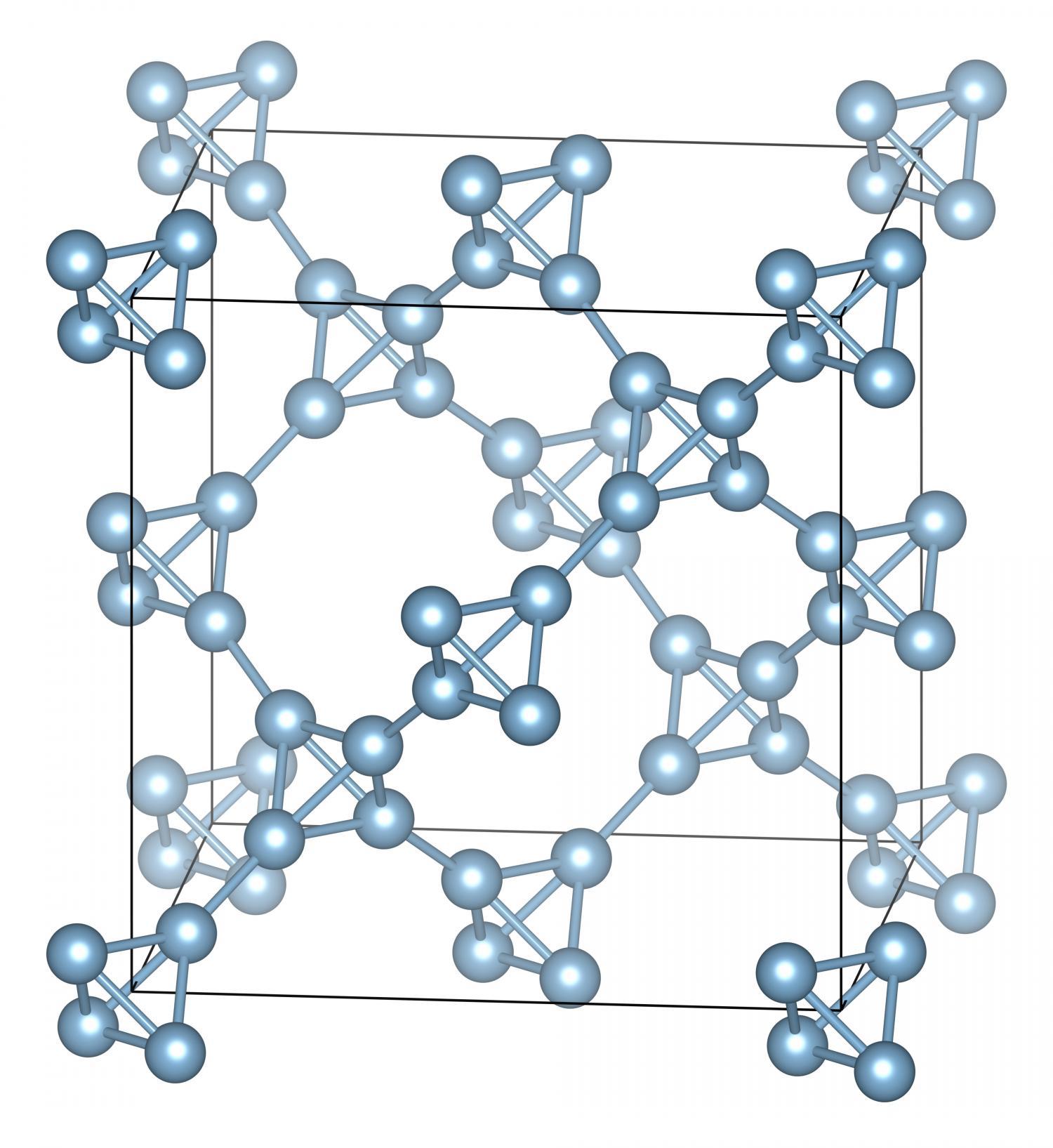 Esquema estrutural do alumínio supertetraédrico, criado por analogia com o diamante. [Imagem: Iliya Getmanskii et. al. (2017)]